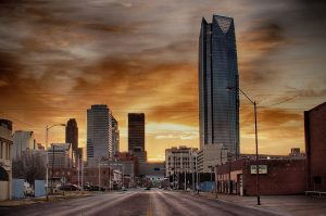 Photo of Oklahoma City skyline at sunset